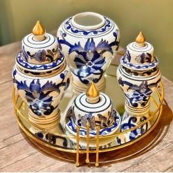 Dekoratif El Boyaması Üçlü Şah Küp
