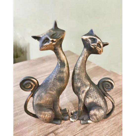 Dekoratif İkili Kedi Figürü Biblo
