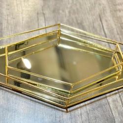 Gold Baklava Söz Nişan Fincan Yüzük Tepsisi