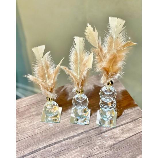 Üçlü Kristal Tüy Dekor Obje