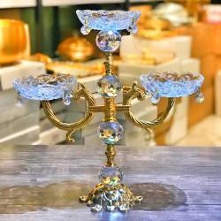 Gold Üç Kollu Tabaklı Şamdan