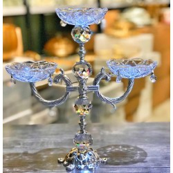 Gümüş Üç Kollu Tabaklı Şamdan