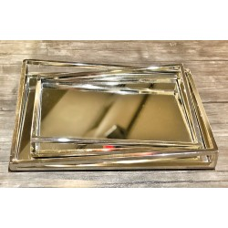 Fiyonk Aynalı Gümüş Metal Tepsi