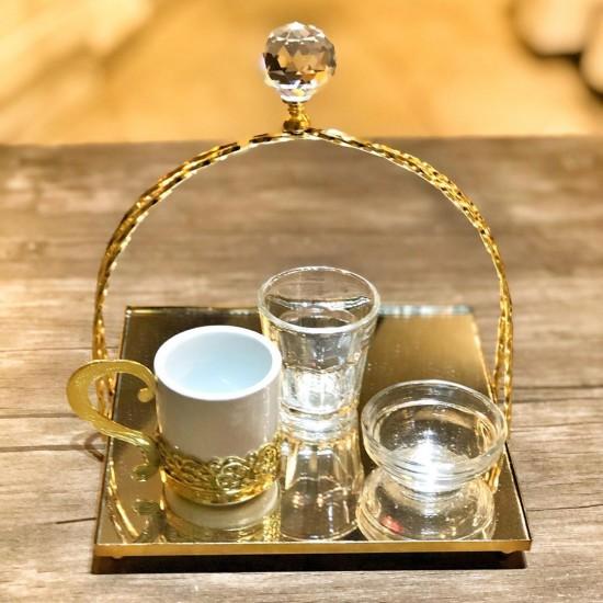 Gold Tutmalı Kahve Tepsisi