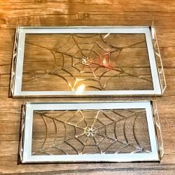 İkili Örümcek Cam Tepsi
