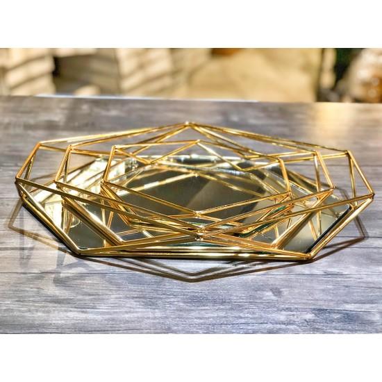 Gold Gümüş Prizma Tepsi