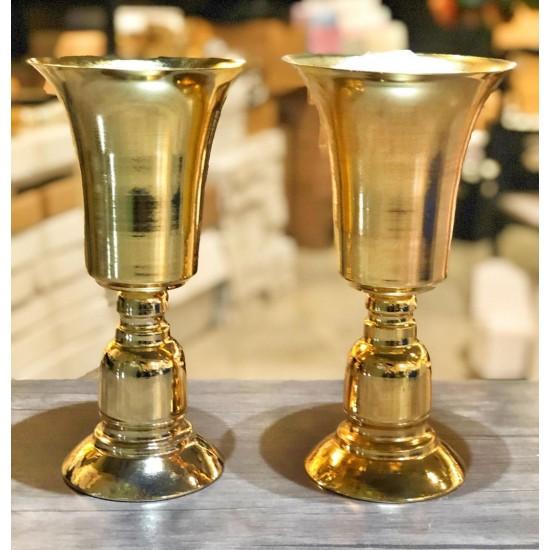 Gold Kısa Metal Vazo