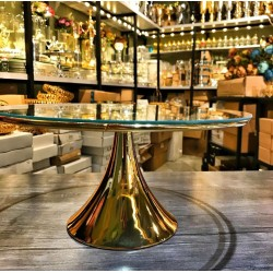 Gold Ayaklı Cam Pasta Yükselticisi